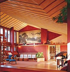 Taliesin Reconsidered : A Japanese screen in the studio dates to the late 18th or early 19th century. Architectural Digest