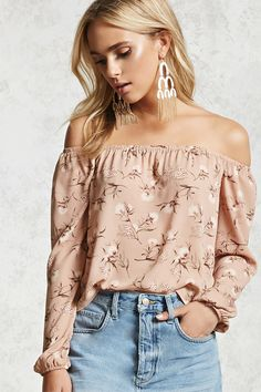 Style Deals - A woven off-the-shoulder top featuring an elasticized off-the-shoulder neckline, an allover floral print, long sleeves with elasticized cuffs and a flowy curved hem.