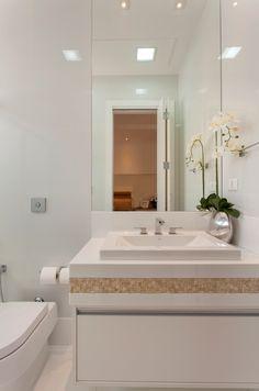 Banheiro, Branco, Bege, Pastilhas, Espelho