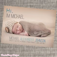 Baby Birth Announcement, Modern, Minimalistic by PaintedPeonyDesigns, $9.99
