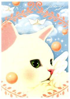Jetoy Cat Heaven Postcard: White Cat