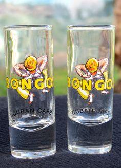 "The Bongos Cuban Cafe 1 Set Tall Shot Glasses New 4"" Tall"
