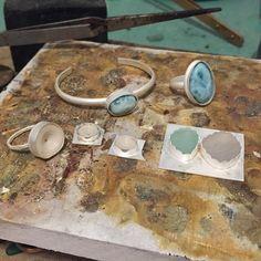 @iwinani In the making  #larimar #pukashells #seaglass #beachglass #sterlingsilver #bezeling #riojeweler #iwinanijewelry