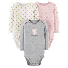 Baby Girls' 3 Pack Princess Owl Bodysuit Set Grey - Just One You™Made by Carter's®