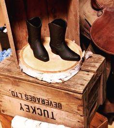 Rustic country barn style wedding - cowboy boots - wood cuts - wooden crates - saddle - Ontario wedding decorator - High Gloss Weddings - www.highglossweddings.com Wedding Cowboy Boots, Wedding Rentals, Wooden Crates, High Gloss, Ontario, Rustic Wedding, Wedding Decorations, Barn, Weddings