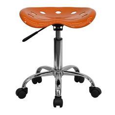 Tractor Seat Stool Adjustable Office Furniture Garage Work Chair Wheels ORANGE #FlashFurniture1