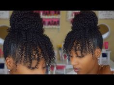 Quick Loose Bun on Natural Hair using Kinky Curly Clip Ins | Protective Styles Hair Review - YouTube