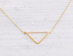 Gold fill triangle - small geometric simple gold necklace - minimal modern jewelry. $27.00, via Etsy.
