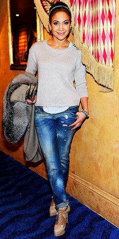 short sweater, boyfriend jeans and ankle boots, oh and a little Jlo.