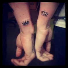 Couple tattoo #King #Queen....I love this. I would never tattoo a mans name on my body even my husbands. but these is simple and would be something that we know is just for the two of us.