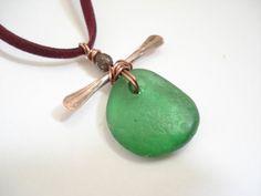 Unisex Handmade Necklace-Sea Glass Pendant-Handcrafted Modern Necklace-Bohemian Necklace-Genuine Sea Glass Pendant