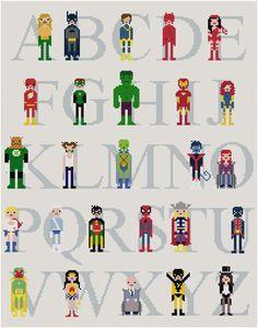 Pixel People - Superhero Alphabet Sampler - PDF Cross stitch PATTERN. $16.00, via Etsy.
