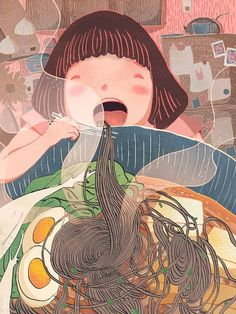 OP: A personal project celebrating my undying love for soba noodles Art And Illustration, Illustrations And Posters, Desenho Kids, Fantasy Magic, Magic Art, Art Watercolor, Art Anime, Art Design, Art Plastique