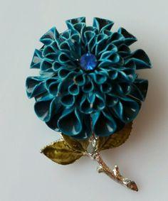 Vintage Coro Enamel Chrysanthemum Flower Brooch Teal Blue W/Blue Rhinestone  #Coro