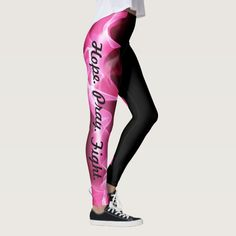 Show Your Support For Breast Cancer Awareness. Hope Pray Fight Leggings