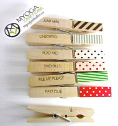 Office Organizing Clothespins for Junk mail, Bills and Filing - Large size with washi deco tape. $9.99, via Etsy.