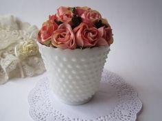 Classic Vintage Milk Glass Hobnail Vase/Planter by mymilkglassshop, $12.50
