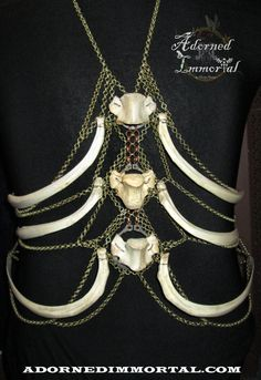 [What an amazing piece! If only I had the $$... or bones] Deer Ribcage & Vertebra Chain Body Harness