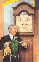 Captain Kangaroo talking with Grandfather Clock.