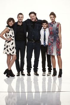GOTHAM stars (from L-R) Camren Bicondova, Ben McKenzie, Donal Logue, David Mazouz and Erin Richards visited the Warner Bros. Television Photo Studio at WBTV's Comic-Con cocktail media mixer at the Hard Rock Hotel's FLOAT Rooftop Bar on Friday, July 25. #WBSDCC