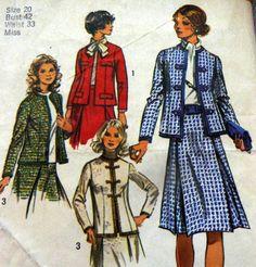 Lovely Vtg 1970s Suit Sewing Pattern Bust 42, simplicity 9819 Vintage Patterns, Vintage Sewing, Sewing Patterns, 1970s, Suits, Vintage Couture, Factory Design Pattern, Patron De Couture, Dress Patterns