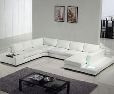 WHITE LEATHER SOFA! With a bench, some light up thingy, mini drink table, day bed. [Modern white top grain leather sofa - modern - sofas - los angeles - Sister Furniture]