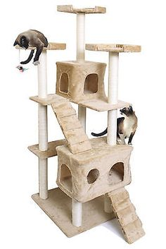 """72"""" Tan Cat Kitten Tree Play House Tower Duplex Condo Post Bed Scratch Toy"""