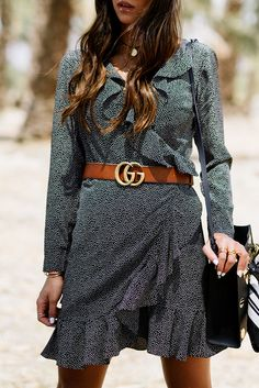 $80 Black And White Grey Tiny Polka Dot Print Pattern Long Sleeved Wrap Around Ruffled Mini Dress Brown Orange Leather Gucci Gold Logo Belt Spring Style Tumblr