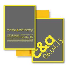 So Fresh and So Clean Invitation, Grey Wedding Invitations, Yellow Wedding Invitations www.thesweetheartshoutout.com