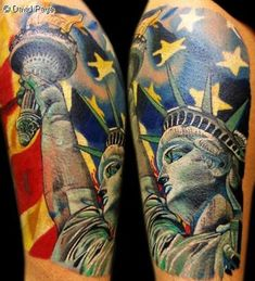 What does statue of liberty tattoo mean? We have statue of liberty tattoo ideas, designs, symbolism and we explain the meaning behind the tattoo. Army Tattoos, Badass Tattoos, Awesome Tattoos, Forearm Band Tattoos, Leg Tattoos, Tatoos, Statue Of Liberty Tattoo, Stripe Tattoo, Off The Map Tattoo