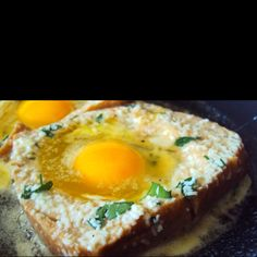 My aunt used to make these when we were at her house. She called them Birds' Nest Eggs. All you do is punch a hold in the middle of a piece of bread, place it on a skillet and crack and egg inside. Season, cook, eat. Repeat.