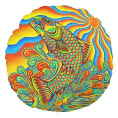Psychedelic Rainbow Trout Fish Round Pillow - home gifts ideas decor special unique custom individual customized individualized