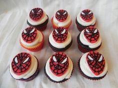 Spiderman cupcakes - why not use strawberries for the faces instead?