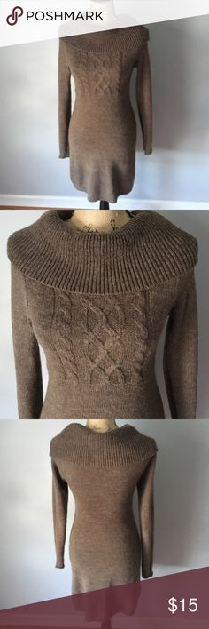 Brown cowl neck sweater dress Medium tag but fits more like a small. Acrylic, wool, and nylon blend. Great to wear with tights or leggings.  If interested, I also have a dress in teal. Dresses