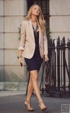 Sheath dress, blazer, statement neckless, and nude heels (not strappy)