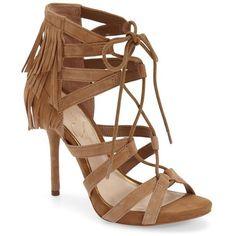 "Jessica Simpson 'Bregan' Cage Fringe Sandal, 5"" heel (2,065 MXN) ❤ liked on Polyvore featuring shoes, sandals, heels, schuhe, dakota tan suede, strappy high heel sandals, tan strappy sandals, strappy platform sandals, strappy heel sandals and high heel shoes"