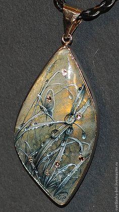 Купить Серебряные росы - темно-серый, лаковая миниатюра, лаконичное украшение, роспись по камню