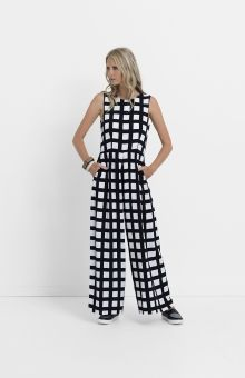 The Tile Wide Leg Jumpsuit has been made from bamboo. Its monochrome print can be complimented with bold jewelry. Bold Jewelry, Chunky Jewelry, Jewellery, Elk Accessories, Got The Look, Jumpsuits For Women, Wide Leg Pants, Style Me, Women Wear