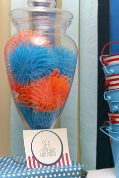 "New Beginnings Decor great idea. those ""koosh"" style rubber balls DO look like sea anemones. CupKate's Event Design: Under the Sea Birthday Bash! Little Mermaid Parties, Little Mermaid Birthday, 4th Birthday Parties, Birthday Bash, Birthday Ideas, Pirate Birthday, Mickey Birthday, Birthday Favors, Pirate Party"