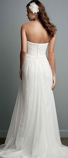 Swiss dot tulle empire wedding gown