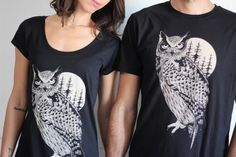 couples t-shirts owl t-shirt set for couples by hardtimesdesign