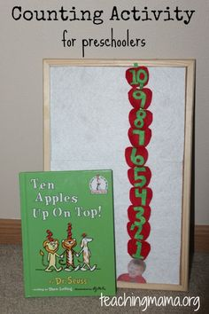 *Math- Ten Apples Up on Top counting activity for preschoolers using felt apples with numbers on them. Counting Activities For Preschoolers, Dr Seuss Activities, Apple Activities, Preschool Books, Preschool At Home, Preschool Themes, Craft Activities, Preschool Activities, Preschool Learning