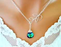 PEACOCK NECKLACE - Aqua Sphinx with Branch Lariat Sterling Silver Necklace, Bridesmaid Gifts, Wedding Jewelry