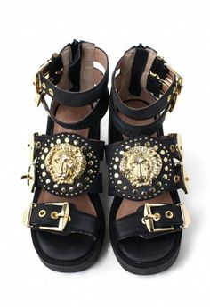 Chunky Cut Out Medallion Buckle Boots