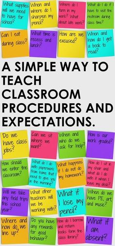 Simple Way to Teach Classroom Procedures and Expectations A better way to teach classroom procedures and expectations on the first day of school.A better way to teach classroom procedures and expectations on the first day of school. Teaching Procedures, Classroom Procedures, Teaching Strategies, Classroom Organization, Middle School Procedures, Teaching Tips, Classroom Decor, Middle School Rules, Rules And Procedures