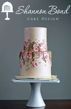 Gold and Pink Wedding Cake by Shannon Bond Cake Design in Olathe, KS www.sbcakedesign.com