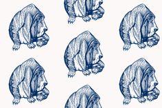 blue bassett hound-ch fabric by dw77 on Spoonflower - custom fabric