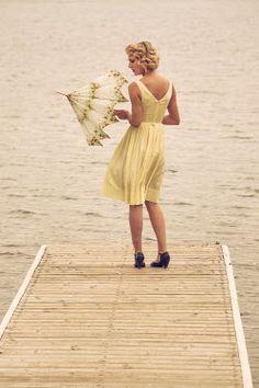 Elisabeth Ansley RETRO WOMAN WITH PARASOL ON JETTY Women Umbrellas Parasols, White Dress, Woman, Retro, Dresses, Fashion, Vestidos, Moda, Patio Umbrellas
