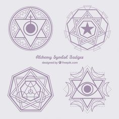 Violet abstract alchemy symbols Free Vector