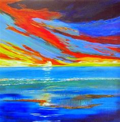 """Daily Paintworks - """"Arrachmes Abstract Seascape Painting Essential Line Of Defense by Contemporary International Arti"""" - Original Fine Art for Sale - © Arrachme Art"""